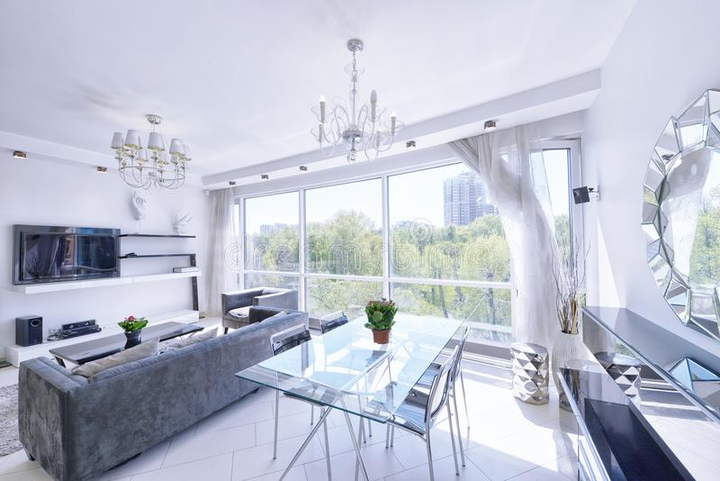 The interior of a modern apartment in white. royalty free stock photography