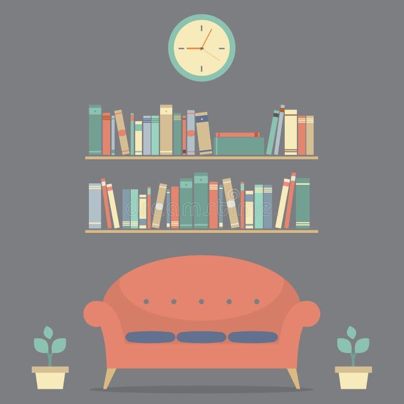 Modern Design Interior Sofa And Bookshelves stock illustration