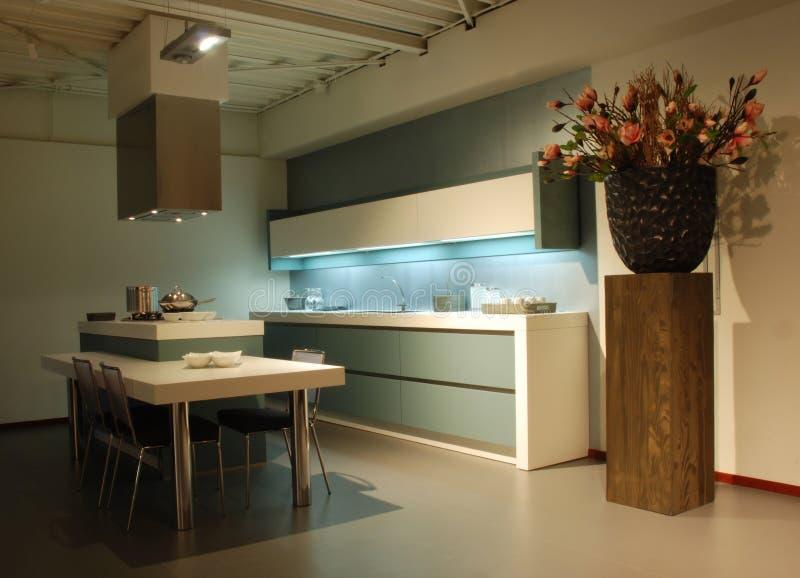 Modern design Kitchen green-white stock photography