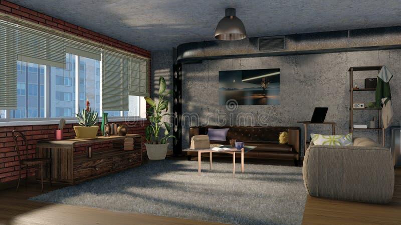 Modern design living room in loft apartment 3D royalty free illustration