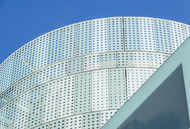 Modern design office building with glass panel roof.  stock photo