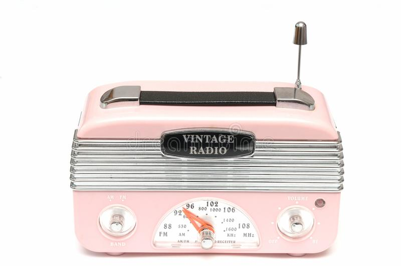 A modern design pink radio of the nostalgic era royalty free stock photography