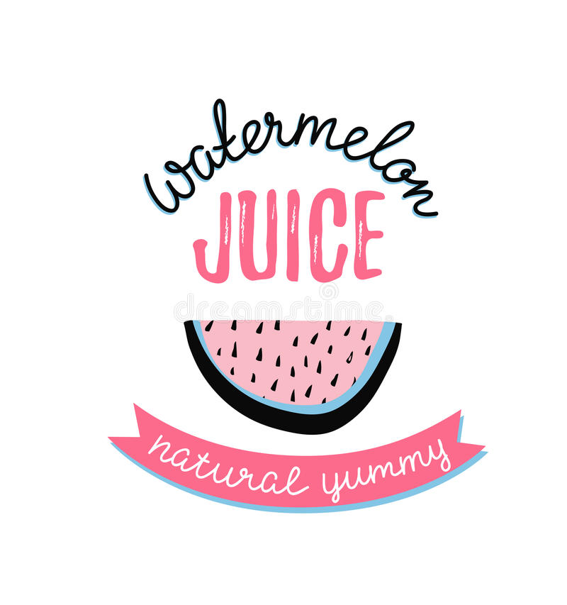 Modern design poster with slice watermelon and stylish lettering - 'watermelon juice'. royalty free illustration