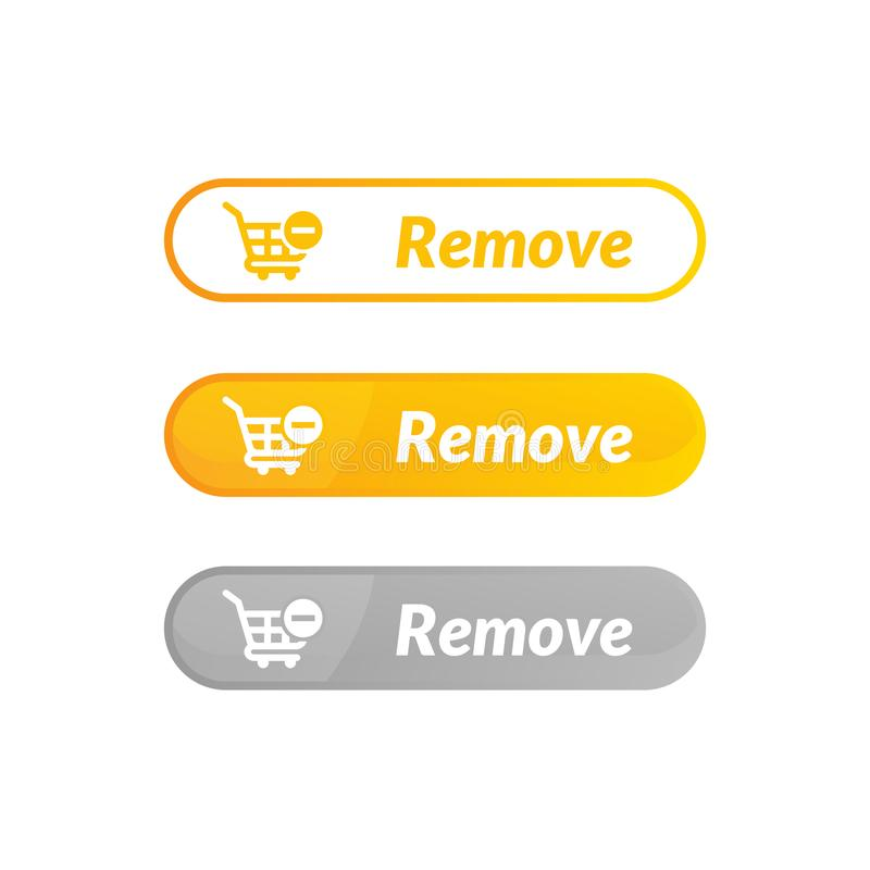 Modern design of remove item button. online shop icon material. Design, action, add, apps, banner, basket, business, buy, cart, checkout, click, computer royalty free illustration