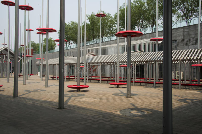 Modern design, steel structure. Asian Chinese, Beijing, Olympic Park, sinking, garden, modern design, steel structure, duxingang old Beijing courtyard of the stock photography