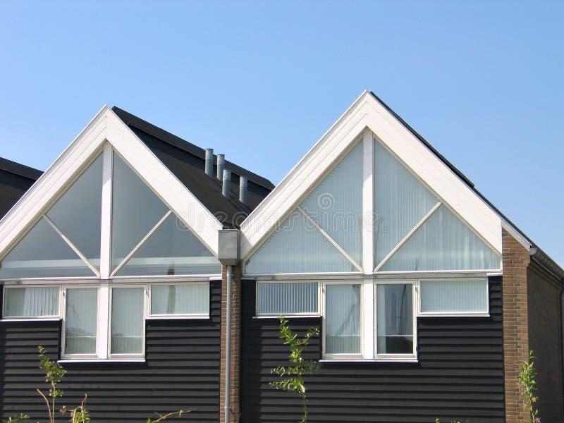 Modern design summer houses. Details of modern design beach summer houses Assens Marina Denmark royalty free stock image