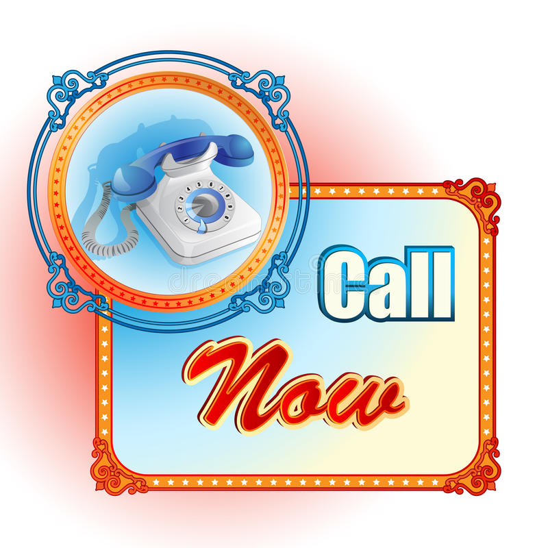 Modern design template for Call Now sign royalty free illustration