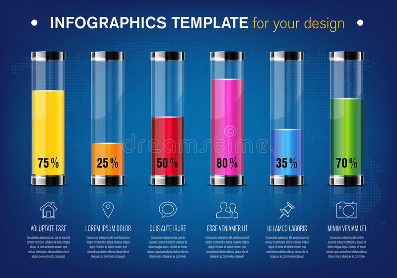 Modern design template for infographics with glass tubes royalty free illustration