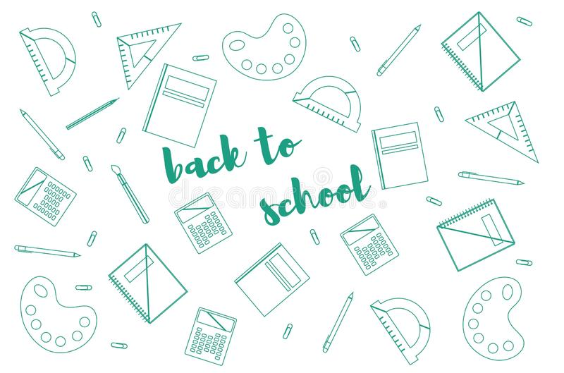 Modern design template with school accessories and `Back to school` lettering royalty free illustration
