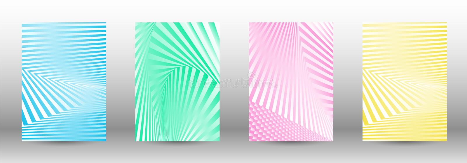 A set of abstract patterns with distorted lines. royalty free illustration