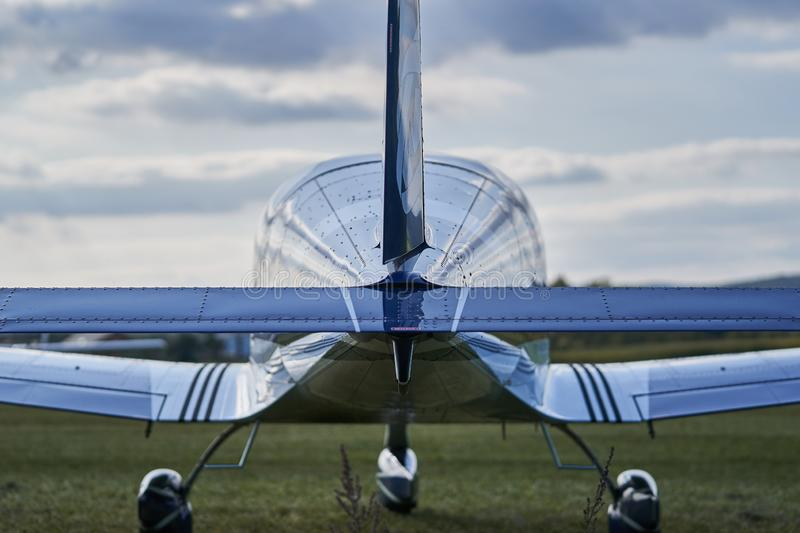 Modern design ultralight airplane rear tail royalty free stock images