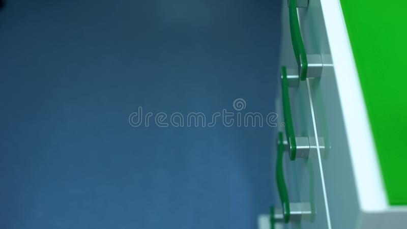 Modern designed drawer unit, custom-built furniture quality, clinic equipment stock photo