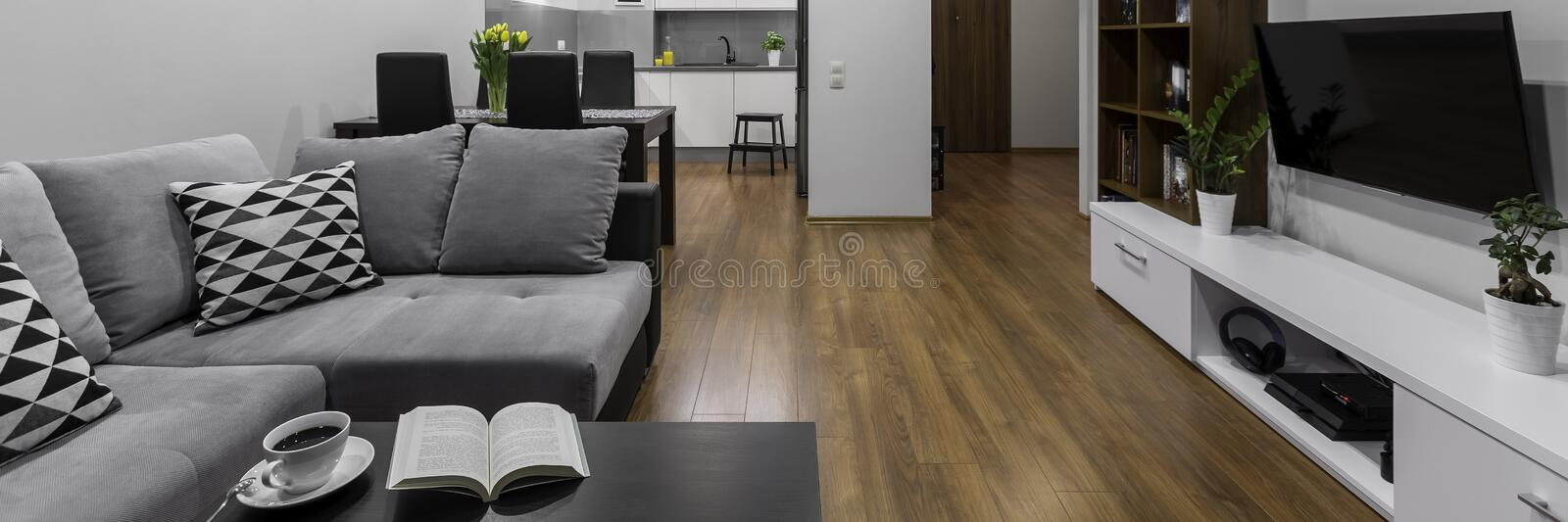 Modern designed space, panorama. Modern and creative designed space in new apartment, panorama royalty free stock photo