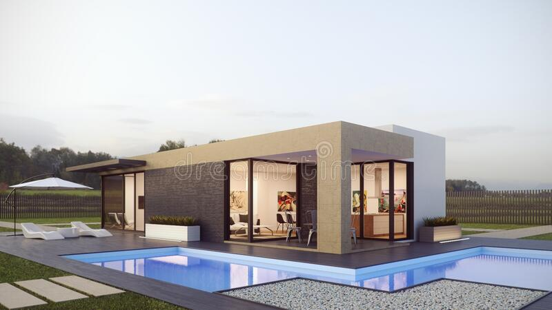 Modern designer home with swimming pool stock photo