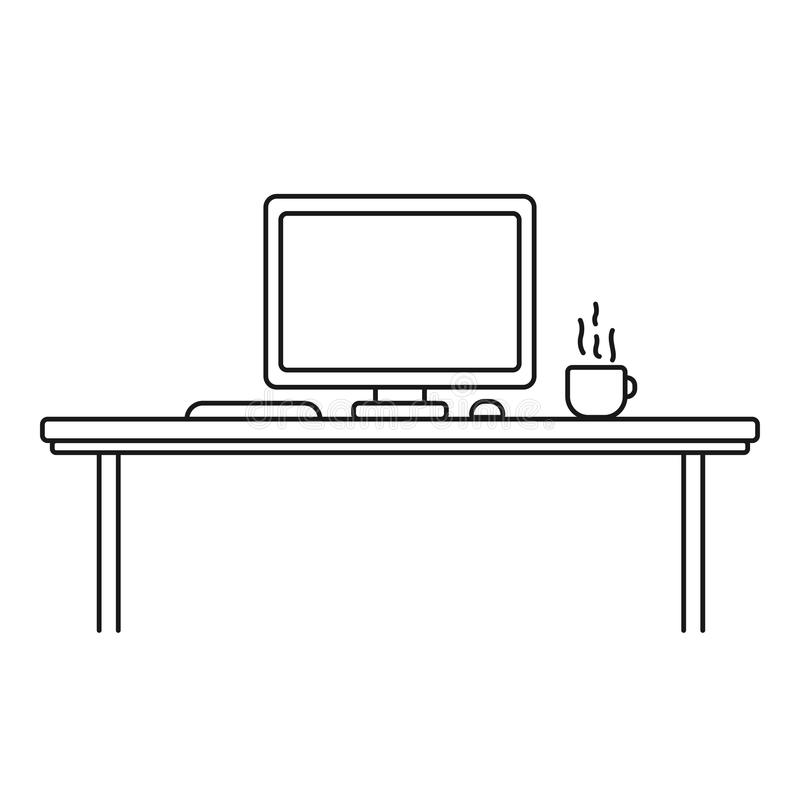 Modern designer work space, linear style. Computer, cup, keyboard and mouse in outline style. Black and white vector illustration