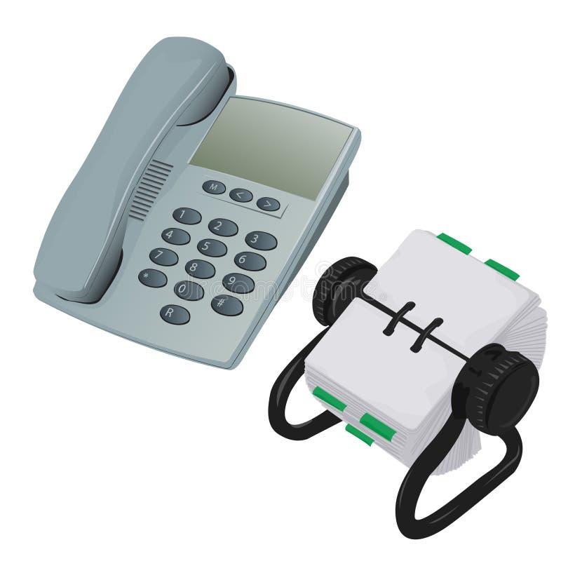 Modern Desk Phone and Rolodex. Organiser Vector stock illustration