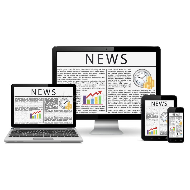 Modern desktop monitor, laptop, tablet and phone with news site screen stock illustration