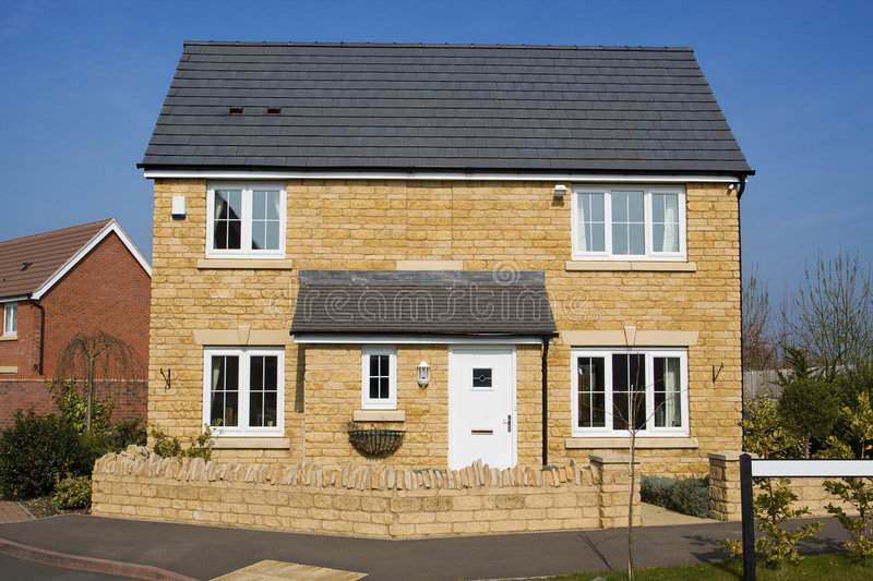 Modern detached house stock image