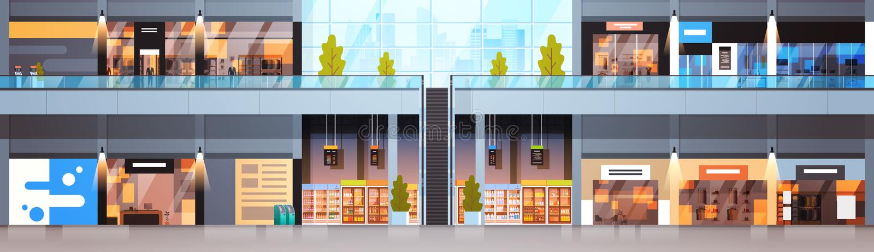 Modern detaljist för stort baner för shoppinggalleria inre horisontalmed inga personer vektor illustrationer