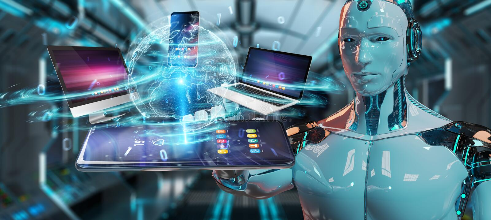 Modern devices connected in robot hand 3D rendering vector illustration