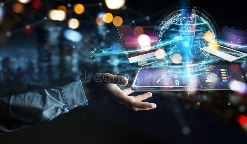Modern devices connected in businessman hand 3D rendering. Modern devices connected to each other in businessman hand 3D rendering stock illustration
