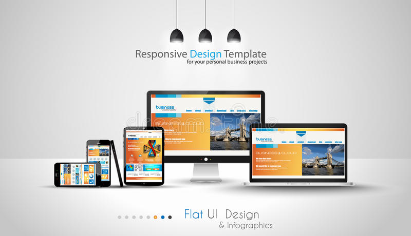 Modern devices mockups fpr your business projects. Webtemplates included vector illustration