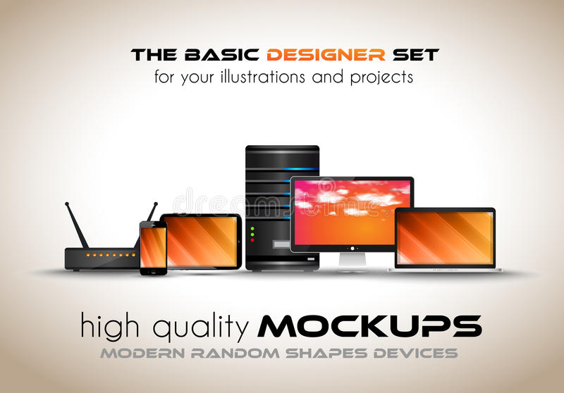 Modern devices mockups for your business projects. royalty free illustration