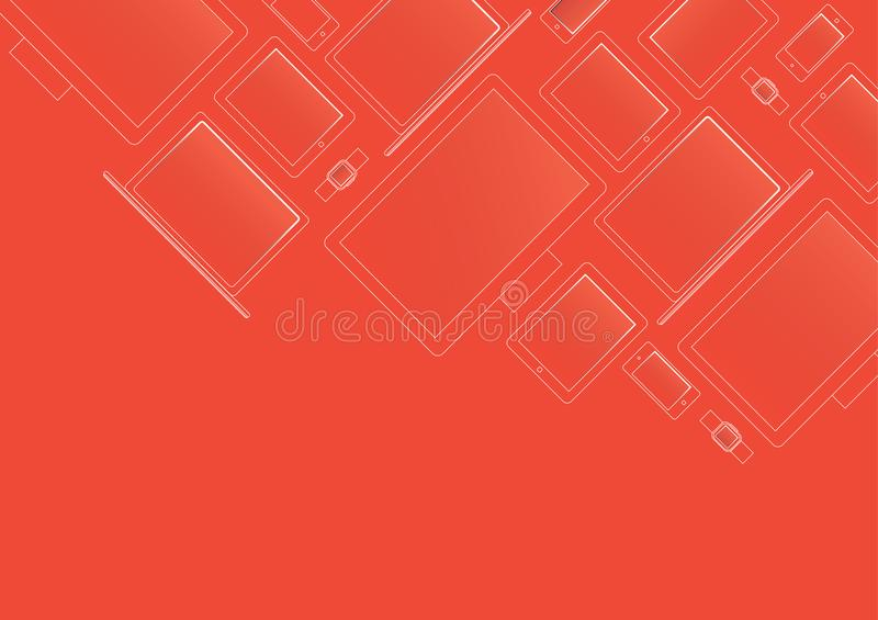 Modern devices in x-ray style on red background stock illustration