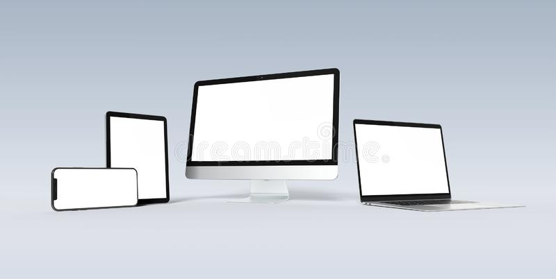 Modern devices with smartphone laptop computer and tablet aligned and isolated on white mockup 3D rendering. Modern devices with smartphone laptop computer and stock illustration