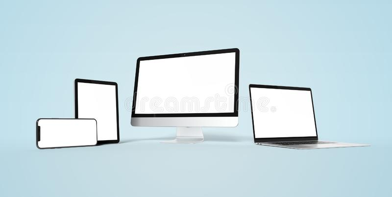 Modern devices with smartphone laptop computer and tablet aligned and isolated on white mockup 3D rendering vector illustration