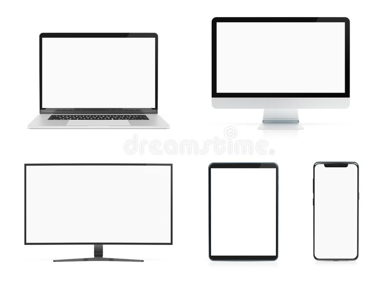 Modern devices with smartphone laptop computer and tablet isolated on white mockup 3D rendering royalty free illustration