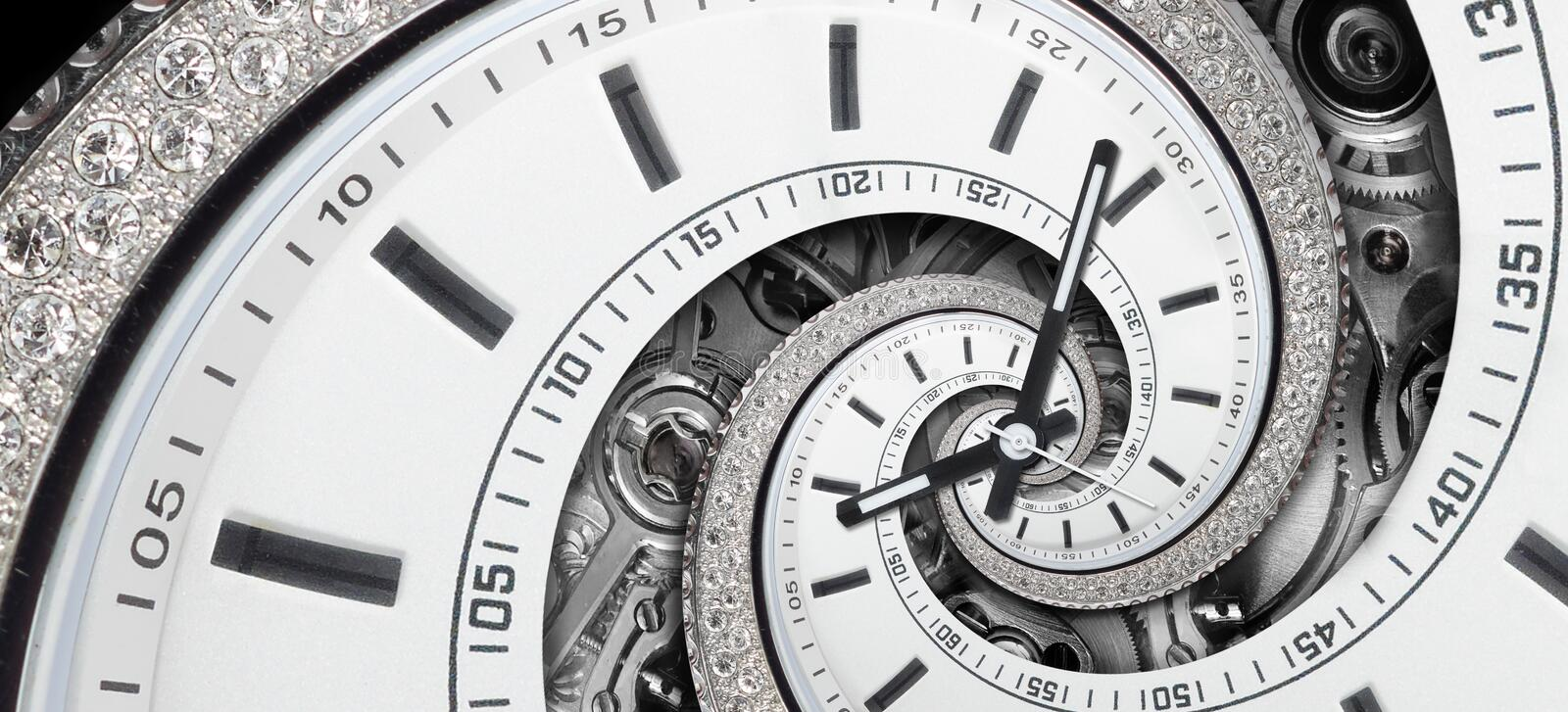 Modern diamond white stylish clock with clock hands and watch mechanism twisted to surreal spiral. Time spiral, time lapse concept. Ual image wide background royalty free stock photos