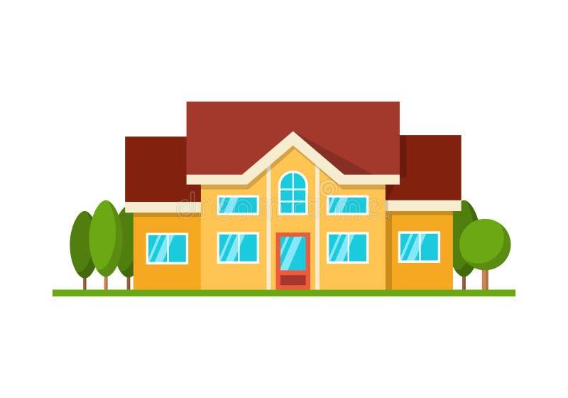 Modern die plattelandshuisjehuis, vooraanzicht, op wit wordt geïsoleerd royalty-vrije illustratie