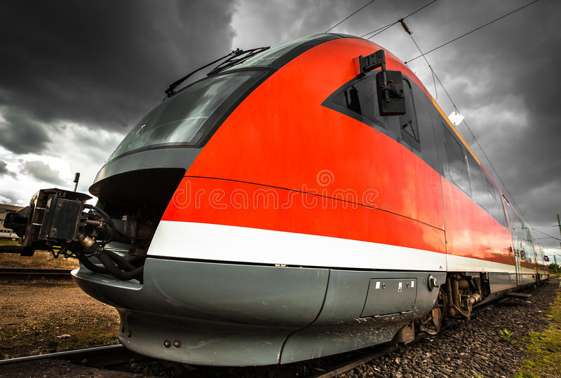 Modern diesel train stock photo