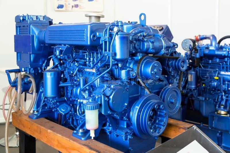 Modern dieselmotor som används på marin- bransch royaltyfri fotografi