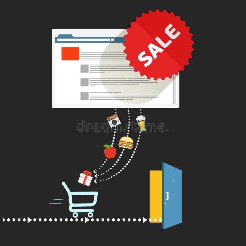 Modern digitaal winkelconcept royalty-vrije illustratie