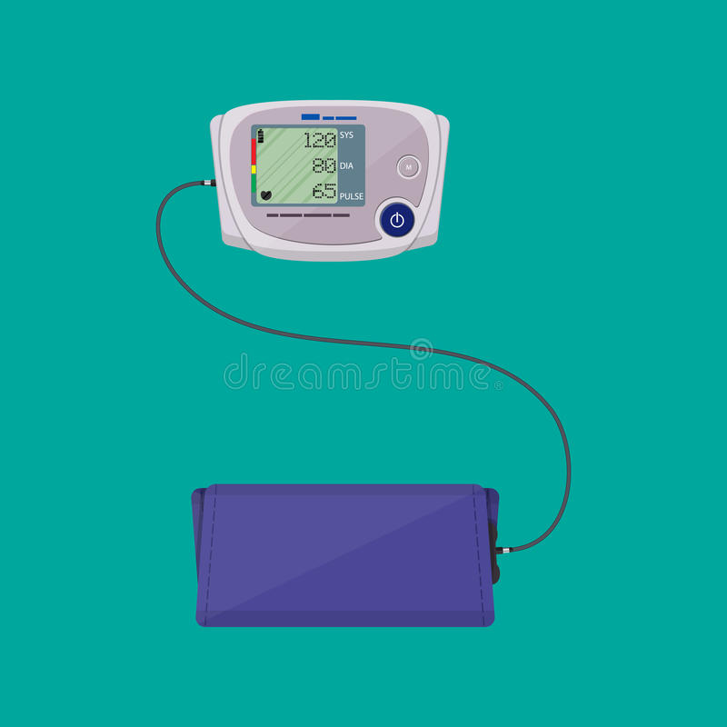 Modern digital blood pressure measuring royalty free illustration
