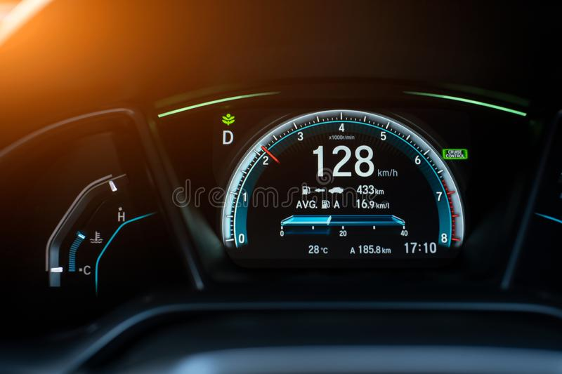 Modern digital car display,Illustration of a car dashboard panel with speedometer,tachometer. stock photo