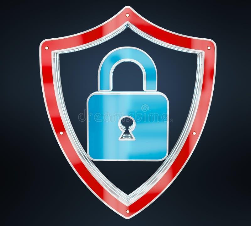 Modern digital data shield antivirus 3D rendering royalty free illustration