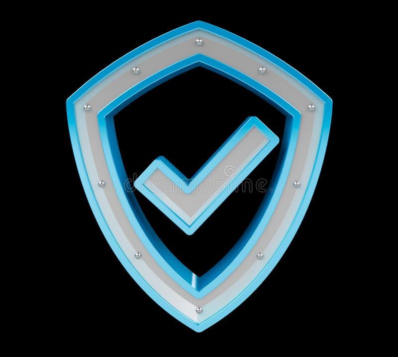 Modern digital data shield antivirus 3D rendering vector illustration