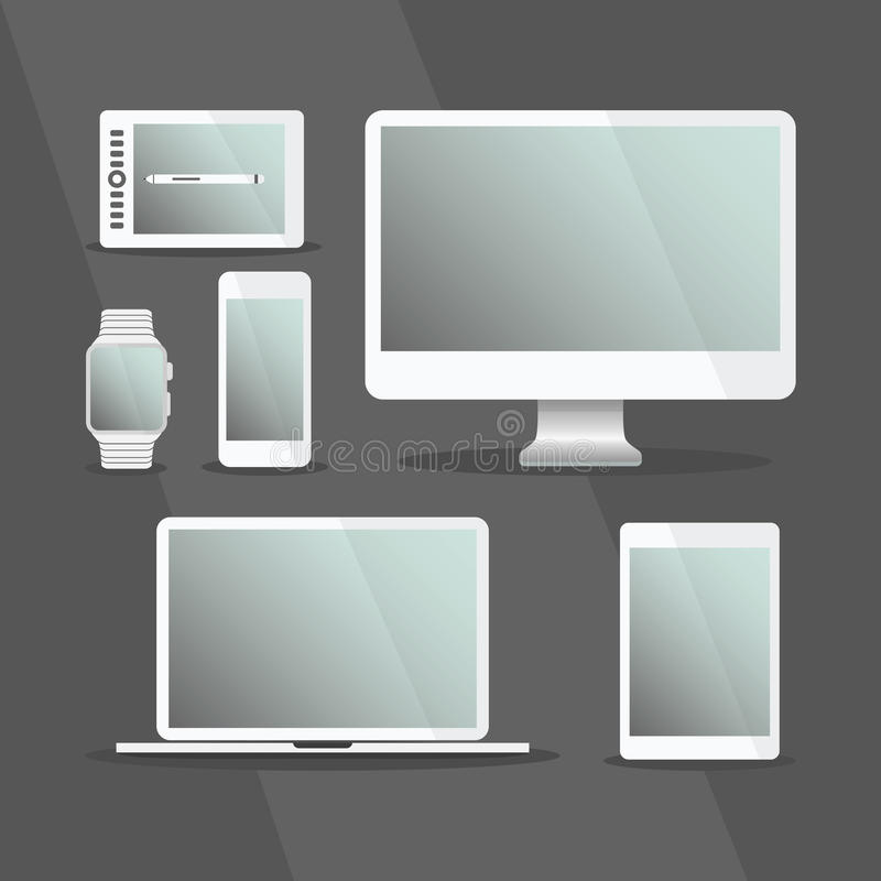 Modern Digital Devices and computers set with white frames stock illustration