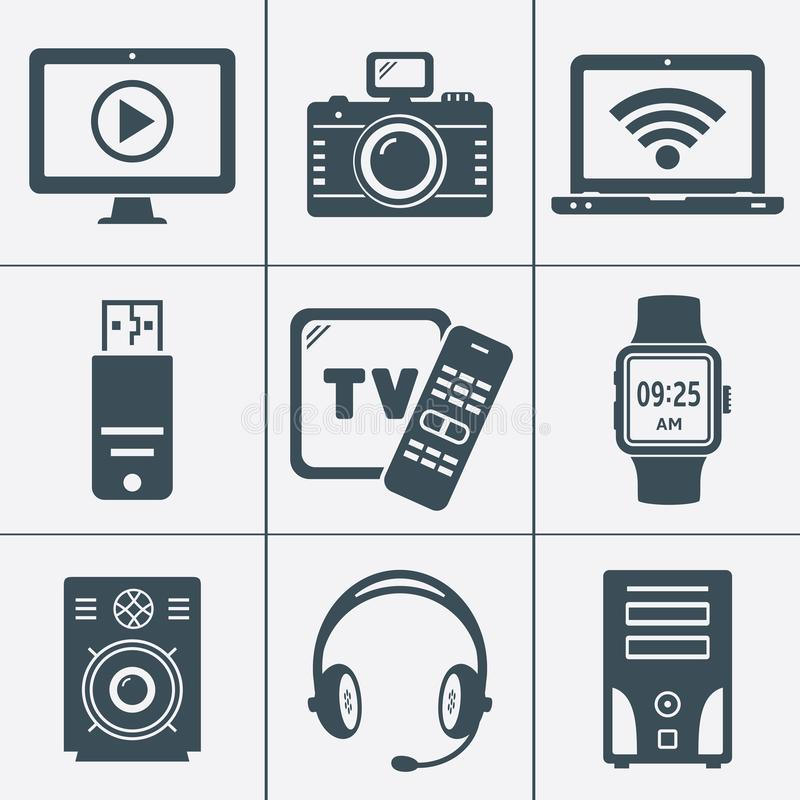 Modern digital devices and electronic gadgets icons royalty free illustration