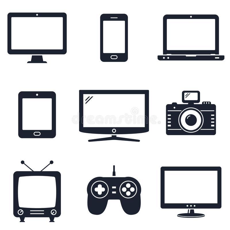 Modern technology devices icons. Modern digital devices and electronic gadgets icons. Vector illustration vector illustration