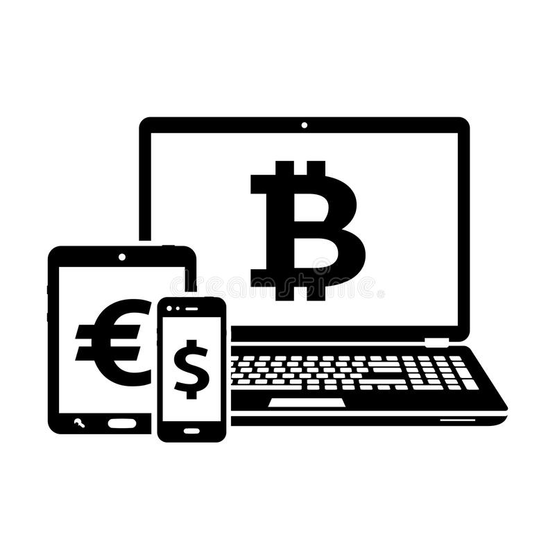 Modern digital devices icons with currency signs. Isolated on white background. Vector illustration vector illustration