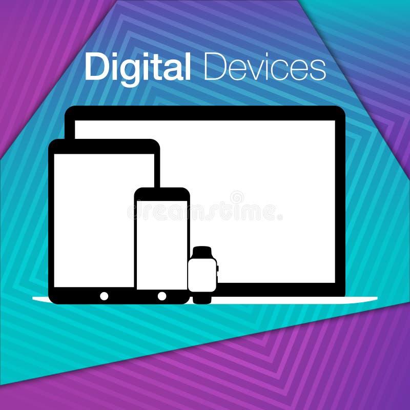 Modern digital devices sets geometric background royalty free illustration