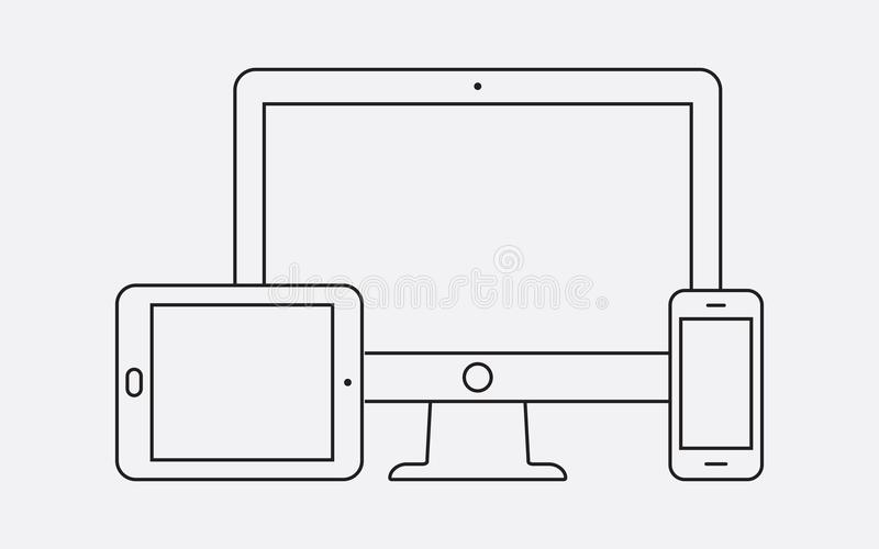 Modern digital devices thin line icon royalty free illustration