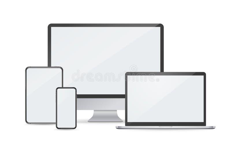 Modern digital devices vector mockup stock illustration