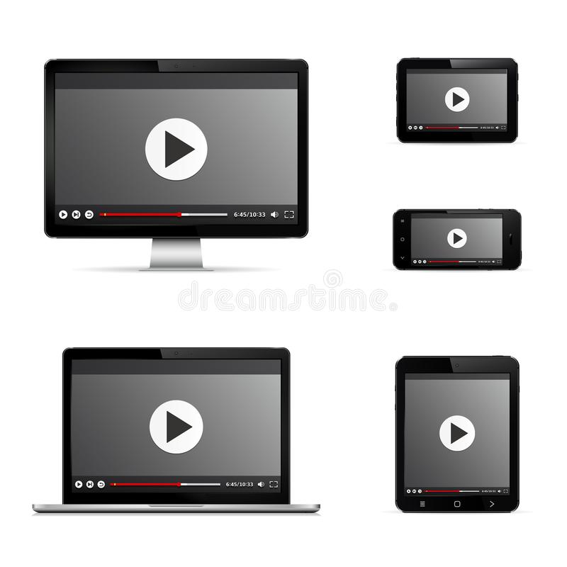 Modern digital devices with web video player on screen vector illustration