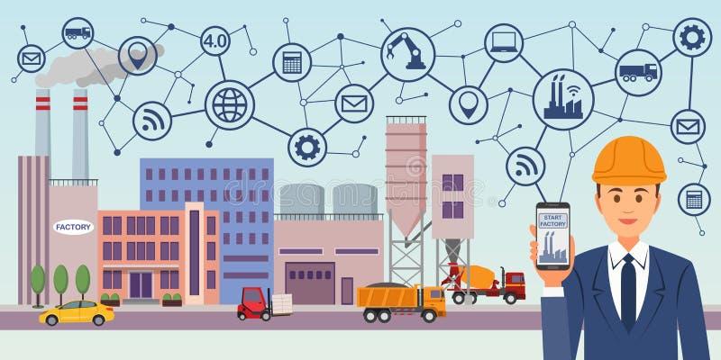 Modern digital fabrik 4 industri 4 0 begreppsbild Industriella instrument i fabriken med cyber och läkarundersökning royaltyfri illustrationer