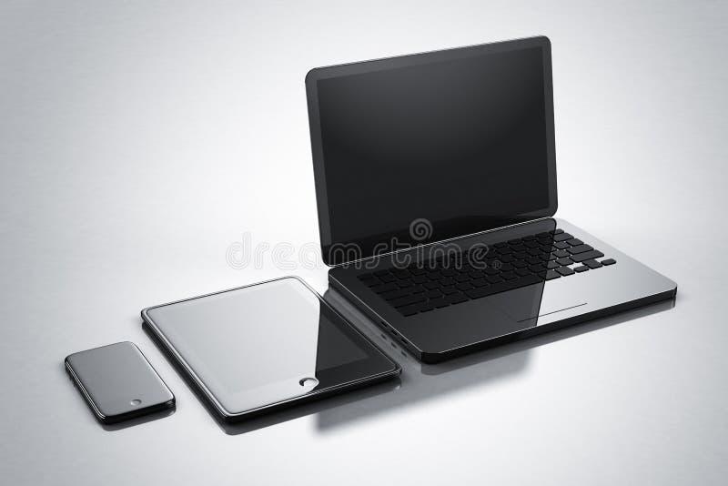 Modern digital gadgets smartphone tablet notebook royalty free illustration